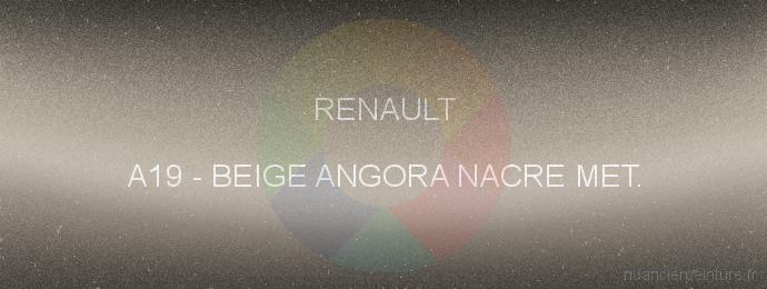 Peinture Renault A19 Beige Angora Nacre Met.