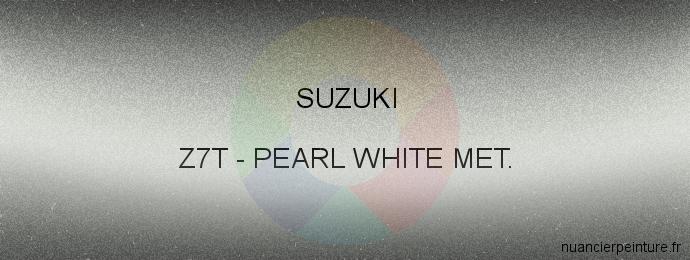 Peinture Suzuki Z7T Pearl White Met.