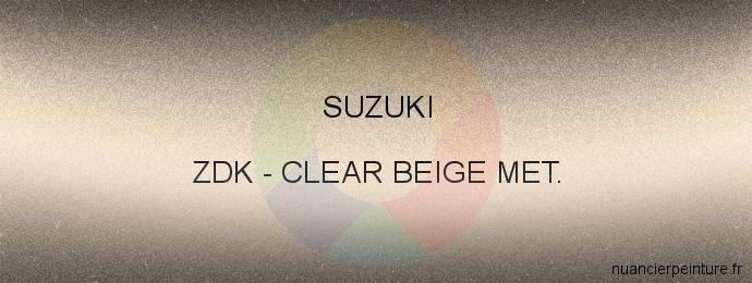 Peinture Suzuki ZDK Clear Beige Met.