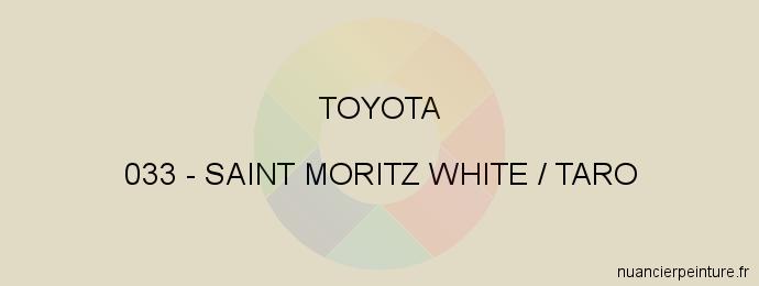 Peinture Toyota 033 Saint Moritz White / Taro