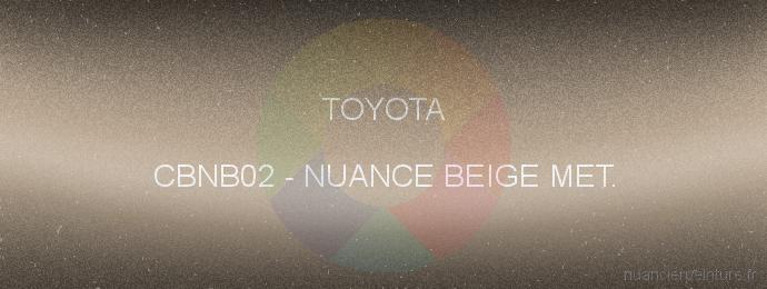 Peinture Toyota CBNB02 Nuance Beige Met.