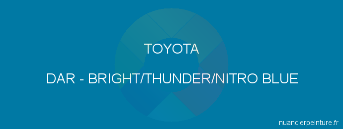 Peinture Toyota DAR Bright/thunder/nitro Blue