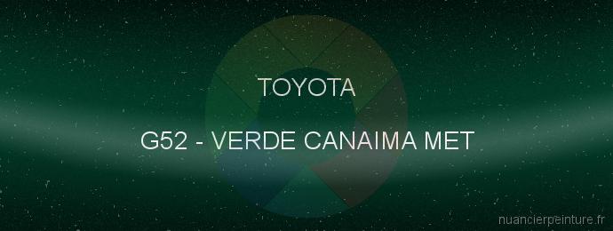 Peinture Toyota G52 Verde Canaima Met